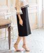 スカート部分:ハイウエストIラインシルエットデザイン