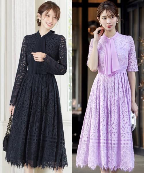 2タイプから選べるフロントラッフルミモレ丈ワンピースドレス
